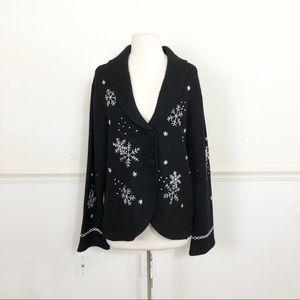 100% Wool black cardigan snowflakes Woman's XL